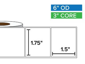 Rectangular Labels, Matte White Paper | 1.75 x 1.5 inches | 3 in. core, 6 in. outside diameter