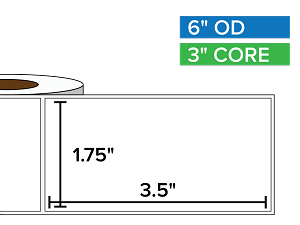 Rectangular Labels, Matte White Paper | 1.75 x 3.5 inches | 3 in. core, 6 in. outside diameter