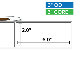 Rectangular Labels, Matte White Paper | 2 x 6 inches | 3 in. core, 6 in. outside diameter