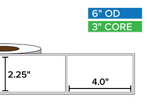 Rectangular Labels, Matte White Paper | 2.25 x 4 inches | 3 in. core, 6 in. outside diameter