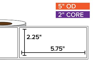 Rectangular Labels, Matte White Paper | 2.25 x 5.75 inches | 2 in. core, 5 in. outside diameter