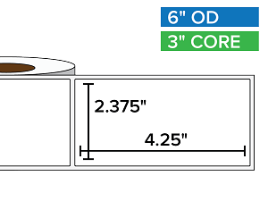 Rectangular Labels, Matte White Paper | 2.375 x 4.25 inches | 3 in. core, 6 in. outside diameter