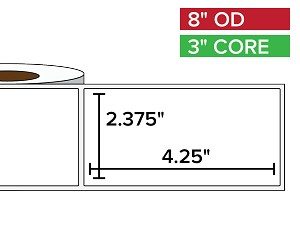 Rectangular Labels, Matte White Paper | 2.375 x 4.25 inches | 3 in. core, 8 in. outside diameter