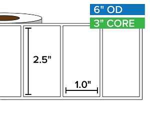 Rectangular Labels, Matte White Paper | 2.5 x 1 inches | 3 in. core, 6 in. outside diameter