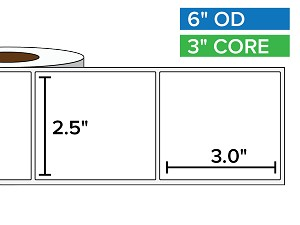 Rectangular Labels, Matte White Paper | 2.5 x 3 inches | 3 in. core, 6 in. outside diameter
