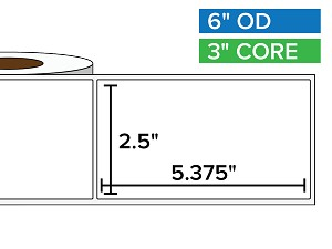 Rectangular Labels, Matte White Paper | 2.5 x 5.375 inches | 3 in. core, 6 in. outside diameter