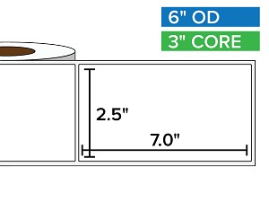 Rectangular Labels, Matte White Paper | 2.5 x 7 inches | 3 in. core, 6 in. outside diameter