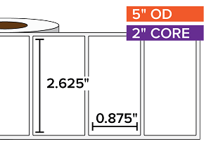 Rectangular Labels, Matte White Paper | 2.625 x 0.875 inches | 2 in. core, 5 in. outside diameter