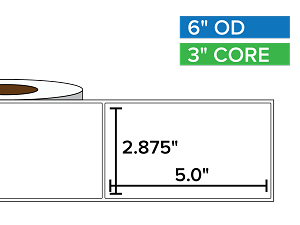 Rectangular Labels, Matte White Paper | 2.875 x 5 inches | 3 in. core, 6 in. outside diameter