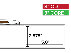 Rectangular Labels, Matte White Paper | 2.875 x 5 inches | 3 in. core, 8 in. outside diameter
