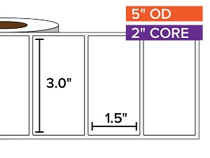 Rectangular Labels, Matte White Paper | 3 x 1.5 inches | 2 in. core, 5 in. outside diameter