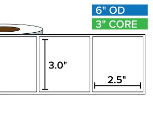 Rectangular Labels, Matte White Paper | 3 x 2.5 inches | 3 in. core, 6 in. outside diameter