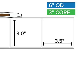 Rectangular Labels, Matte White Paper | 3 x 3.5 inches | 3 in. core, 6 in. outside diameter