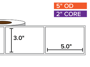 Rectangular Labels, Matte White Paper | 3 x 5 inches | 2 in. core, 5 in. outside diameter