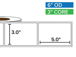 Rectangular Labels, Matte White Paper | 3 x 5 inches | 3 in. core, 6 in. outside diameter