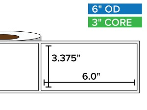 Rectangular Labels, Matte White Paper | 3.375 x 6 inches | 3 in. core, 6 in. outside diameter