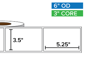 Rectangular Labels, Matte White Paper | 3.5 x 5.25 inches | 3 in. core, 6 in. outside diameter