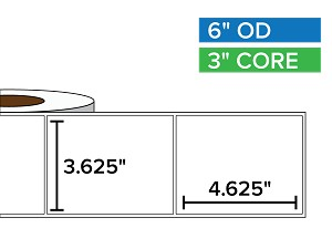 Rectangular Labels, Matte White Paper | 3.625 x 4.625 inches | 3 in. core, 6 in. outside diameter
