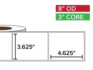 Rectangular Labels, Matte White Paper | 3.625 x 4.625 inches | 3 in. core, 8 in. outside diameter