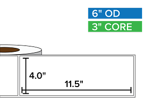 Rectangular Labels, Matte White Paper | 4 x 11.5 inches | 3 in. core, 6 in. outside diameter