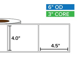 Rectangular Labels, Matte White Paper | 4 x 4.5 inches | 3 in. core, 6 in. outside diameter
