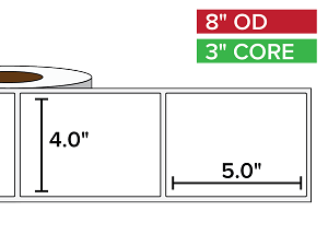 Rectangular Labels, Matte White Paper | 4 x 5 inches | 3 in. core, 8 in. outside diameter