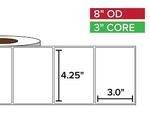 Rectangular Labels, Matte White Paper | 4.25 x 3 inches | 3 in. core, 8 in. outside diameter