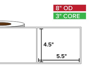 Rectangular Labels, Matte White Paper | 4.5 x 5.5 inches | 3 in. core, 8 in. outside diameter