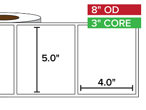 Rectangular Labels, Matte White Paper | 5 x 4 inches | 3 in. core, 8 in. outside diameter
