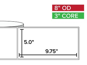 Rectangular Labels, Matte White Paper | 5 x 9.75 inches | 3 in. core, 8 in. outside diameter